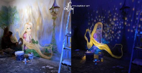 艺术家用特殊颜料装饰屋子 带你进入阿凡达的世界【2】
