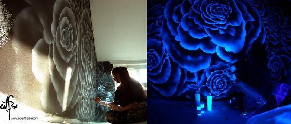 艺术家用特殊颜料装饰屋子 带你进入阿凡达的世界【3】